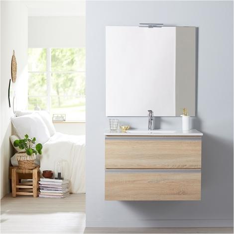 Meuble de salle de bain à suspendre chêne oak bordolino 80 cm + miroir + éclairage - Série Dynamic 2 tiroirs