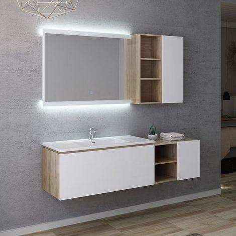 Meuble de salle de bain ALASSIO 1000 Scandinave vintage et blanc