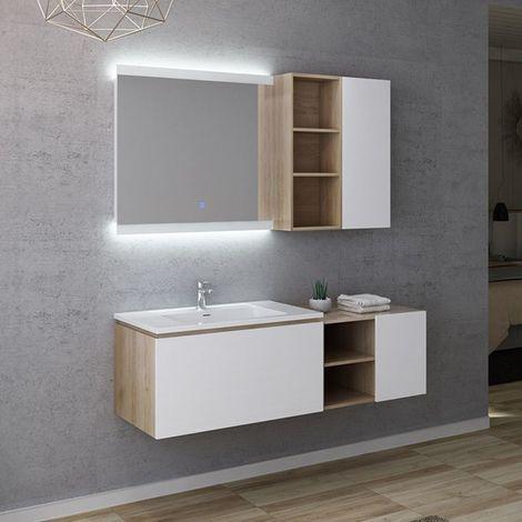 Meuble de salle de bain ALASSIO 800 Scandinave vintage & blanc