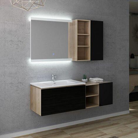 Meuble de salle de bain ALASSIO 800 Scandinave vintage & Noir