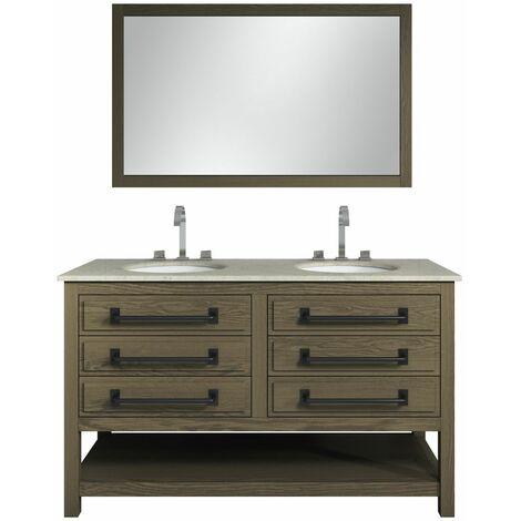 Meuble de salle de bain Andes 140 cm avec miroir - Marron - Marron