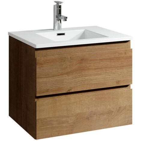 Meuble de salle de bain Angela 120cm lavabo F. Oak – Armoire de rangement Meuble lavabo