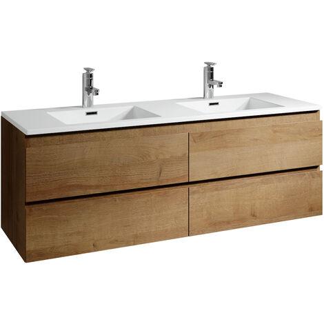 "main image of ""Meuble de salle de bain Angela 140 cm - Chene – Meuble de lavabo double vasque - Chene"""