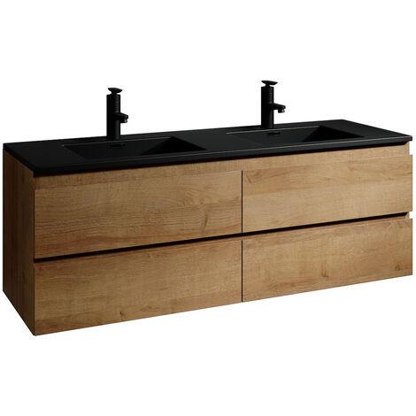 Meuble de salle de bain Angela 140 cm - lavabo noir - Chêne - Meuble bas meuble vasque meuble vasque - Chêne