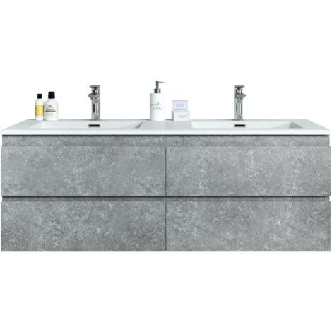 Meuble de salle de bain Angela 140cm F. Ash (Gris) – Armoire de rangement Meuble lavabo - Gris