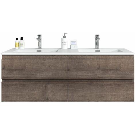 Meuble de salle de bain Angela 140cm lavabo Marron – Armoire de rangement Meuble lavabo - Marron