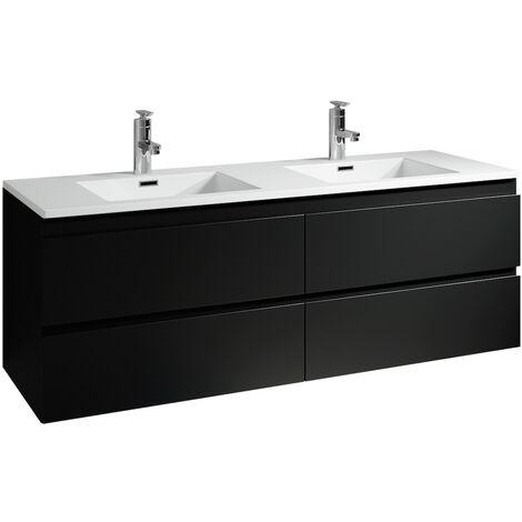 Meuble de salle de bain Angela 140cm lavabo noir mat – Armoire de rangement Meuble lavabo - Noir