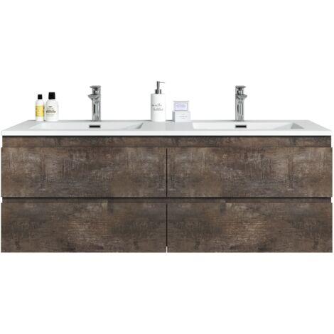 Meuble de salle de bain Angela 140cm lavabo Stone Ash – Armoire de rangement Meuble lavabo - Stone Ash