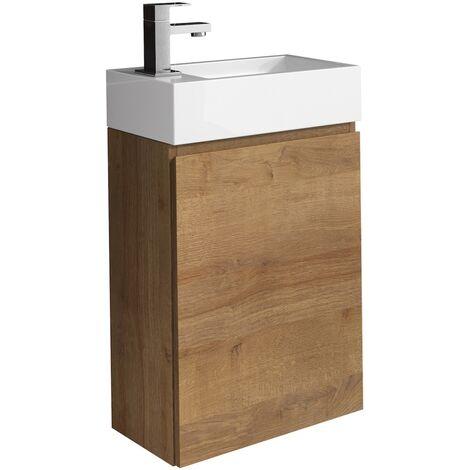 Meuble de salle de bain Angela F. Oak 40x22 cm Armoire de rangement Meuble lavabo evier Meubles