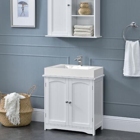 Meuble de salle de bain Armoire de salle de bain au dessous lavabo 2 porte 2 stockages séparés 60x60x30cm MDF laqué Blanc