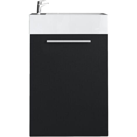 Meuble de salle de bain Athene Bois noir 40x20 cm Armoire de ...