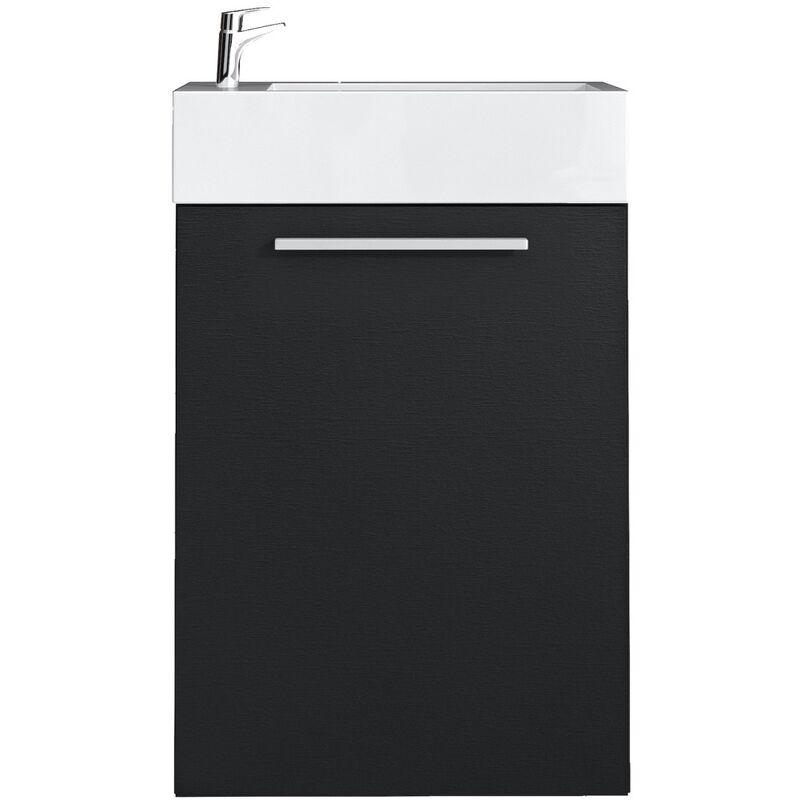 Meuble de salle de bain Athene Bois noir 40x22 cm Armoire de rangement  Meuble lavabo evier Meubles