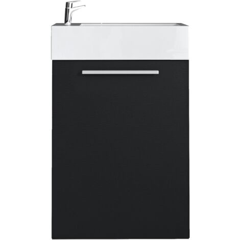 Meuble de salle de bain Athene Chene gris 40x22 cm Armoire de rangement Meuble lavabo evier Meubles