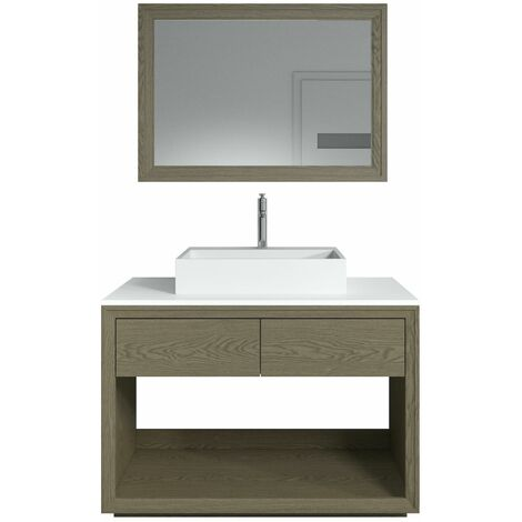 Meuble de salle de bain Atlas 110cm avec miroir - Marron foncé - Marron foncé