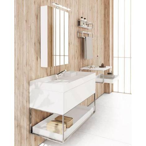 Meuble De Salle De Bain Avec Lavabo 100 Laque Blanc Brillant