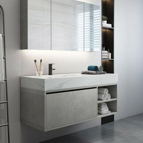 Meuble de salle de bain avec lavabo aspect marbre