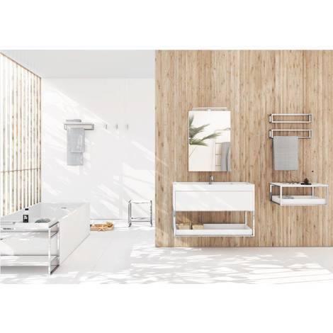 Meuble de salle de bain avec lavabo et tablette 60 laqué blanc ...