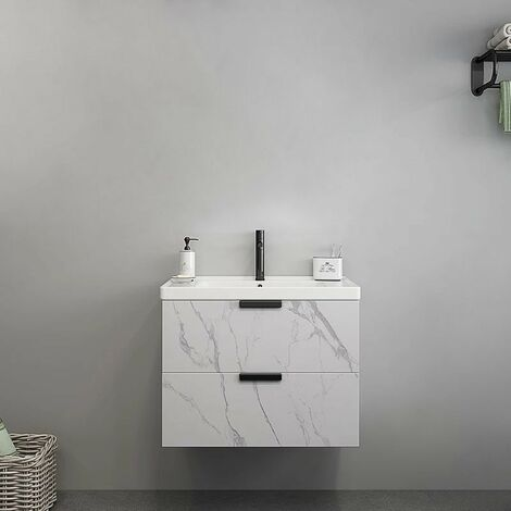 Meuble de salle de bain avec tiroirs aspect marbre blanc