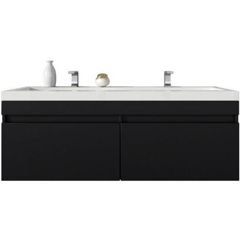 Meuble de salle de bain Avellino 120cm lavabo bois noir – Armoire de ...
