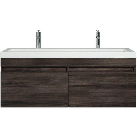 Meuble de salle de bain Avellino 120cm lavabo Chene gris ...