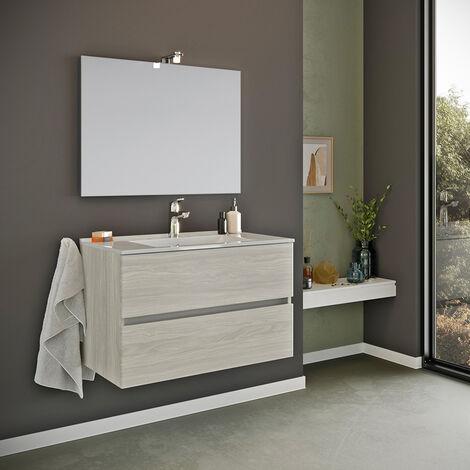 Meuble de salle de bain base suspendue 2 tiroirs miroir 80x60 cm lampe LED évier céramique Kallsjon Gris