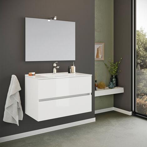 Meuble de salle de bain base suspendue 2 tiroirs miroir évier en céramique lampe LED Kallsjon
