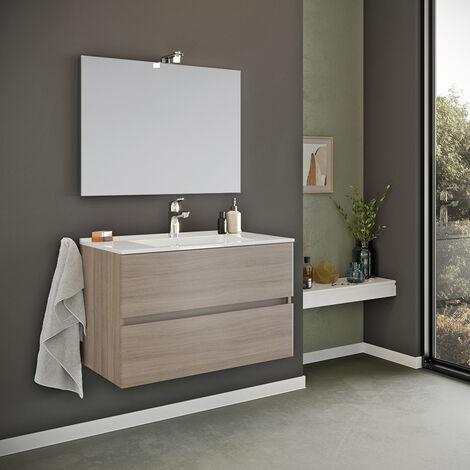 Meuble de salle de bain base suspendue 2 tiroirs miroir lampe LED évier en céramique Kallsjon Oak