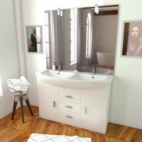 Meuble de salle de bain blanc double vasque 120cm sur pied + vasque ceramique blanche + miroir led