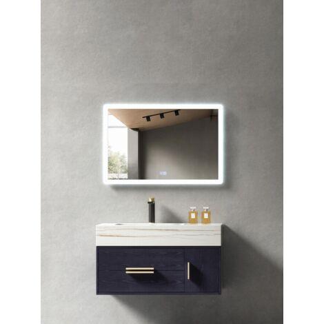 Meuble de salle de bain Bleu & vasque blanche avec motif doré - 80 cm