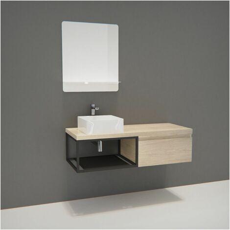 Meuble de Salle de Bain Bois et Métal WILL - Plan de toilette suspendu 120 cm + Vasque + Miroir - Bois Clair