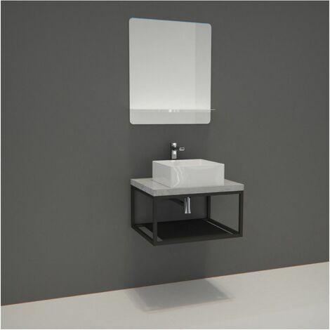 Meuble de Salle de Bain Bois et Métal WILL - Plan de toilette suspendu 60 cm + Structure métal Noir Mat + Vasque + Miroir - Béton