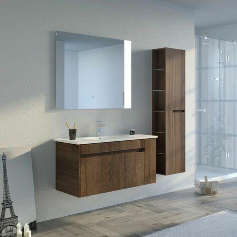 Meuble de salle de bain BOVALINO 1000 Chêne Foncé