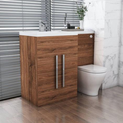 Ensemble meuble de salle de bain Calm bois noisette | WC et ...