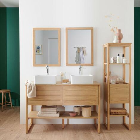 Meuble de Salle De Bain Chêne 120 cm + Colonne de rangement Chêne cm ATOLL + 2 Miroirs + 2 Vasques - Bois Clair