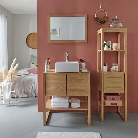 Meuble de Salle De Bain Chêne 70 cm + Colonne de rangement Chêne 145 cm ATOLL + Miroir + Vasque carrée 36 cm - Bois Clair