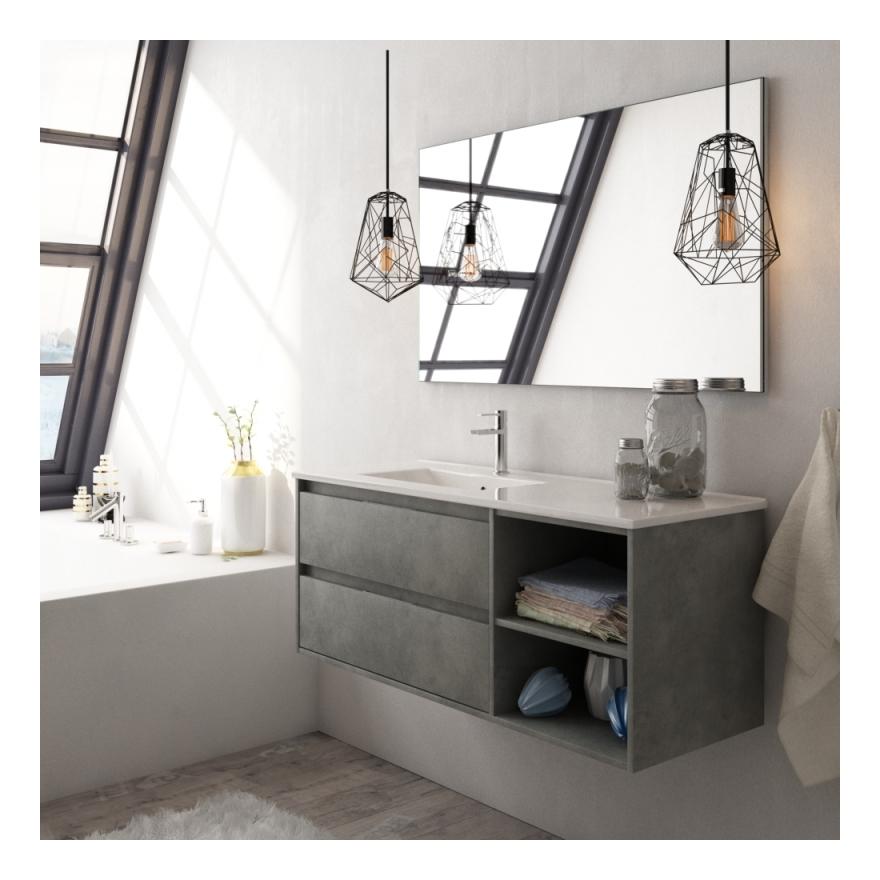 Meuble de salle de bain complet venus 120 couleur ciment - Meuble salle de bain complet ...