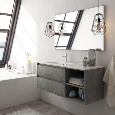 Meuble de salle de bain complet Venus 120 couleur ciment