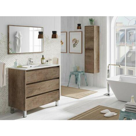 Meuble de salle de bain Dakota sur le sol 80 cm avec miroir ...