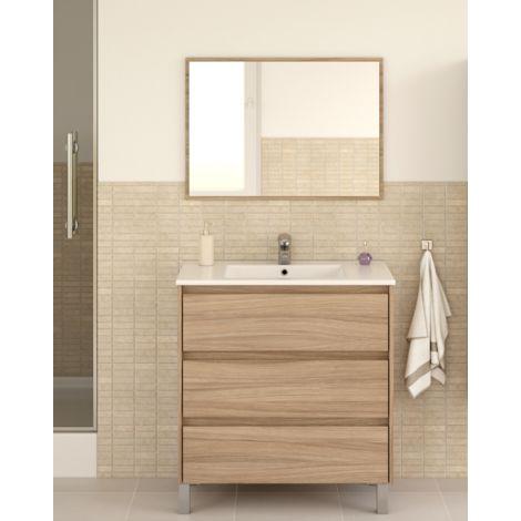 Meuble de salle de bain Dakota sur le sol 80 cm couleur naturelle avec miroir