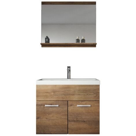 "main image of ""Meuble de salle de bain de Montreal 02 60 cm - Lefkas - avec miroir - Lefkas, marron"""