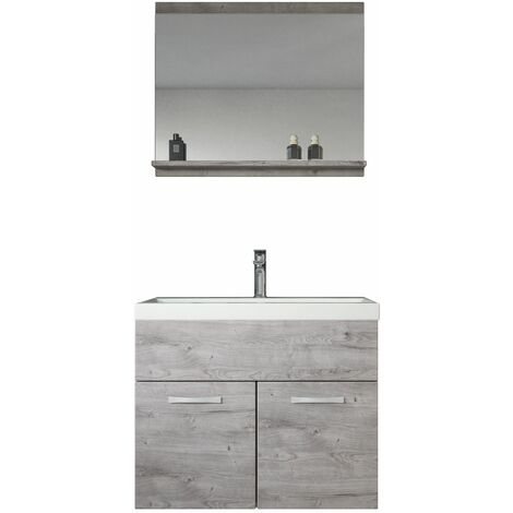 Meuble de salle de bain de Montreal 02 60cm lavabo Gris - Armoire de rangement Meuble lavabo evier Meuble lavabo 60x35 cm