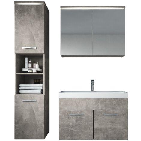 Meuble de salle de bain de Paso 80x40cm lavabo Beton (gris) – Armoire de rangement Meuble lavabo armoire miroir