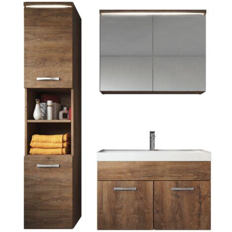Meuble de salle de bain de Paso 80x40cm lavabo Lefkas (marron) – Armoire de rangement Meuble lavabo armoire miroir