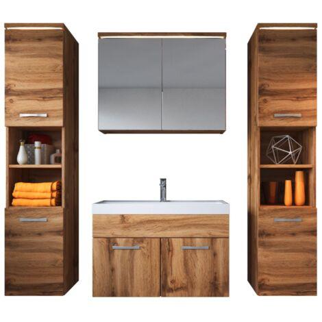 Meuble de salle de bain de Paso xl 80x40cm lavabo Wotan – Armoire de rangement Meuble lavabo armoire miroir