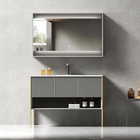 Meuble de salle de bain design à poser Gris - 120 cm