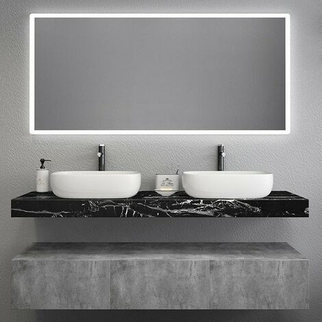Meuble de salle de bain design avec vasque en marbre noir - 120 cm