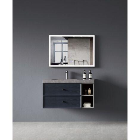 Meuble de salle de bain design suspendu Bleu & Gris - 90 cm