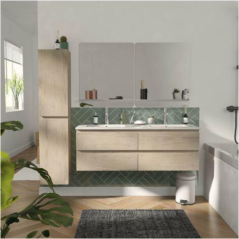 Meuble de Salle de Bain Double Vasque 120 cm + Colonne Chêne + 2 miroirs SORRENTO