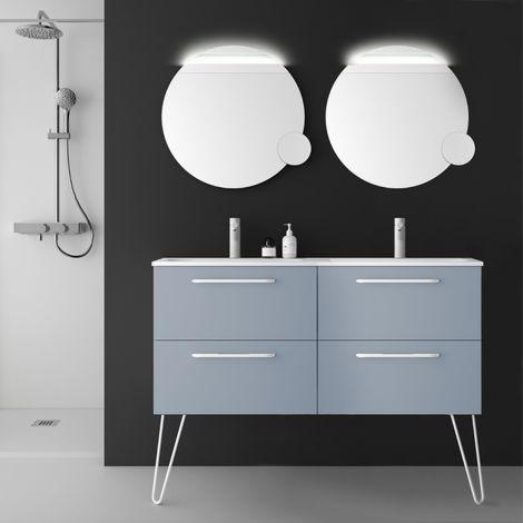 Meuble de salle de bain double vasque 120 cm couleur bleu fog à suspendre - So matt