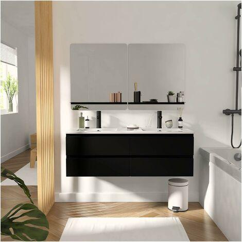 Meuble de Salle de Bain Double Vasque 120 cm Noir Carbone + 2 miroirs SORRENTO - Noir